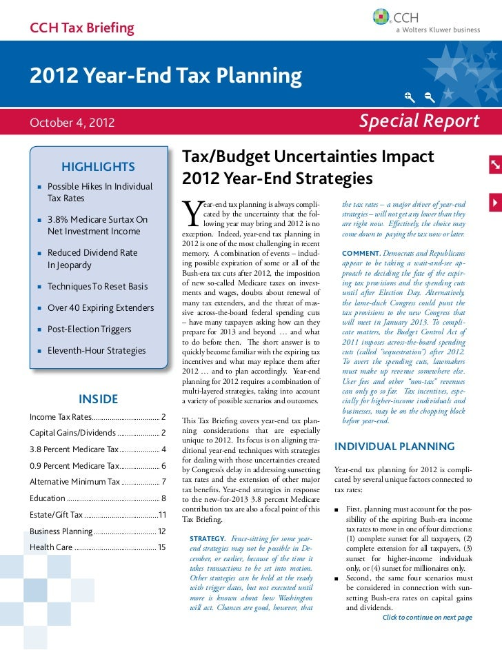 CCH Tax Briefing2012 Year-End Tax PlanningOctober 4, 2012                                                                 ...
