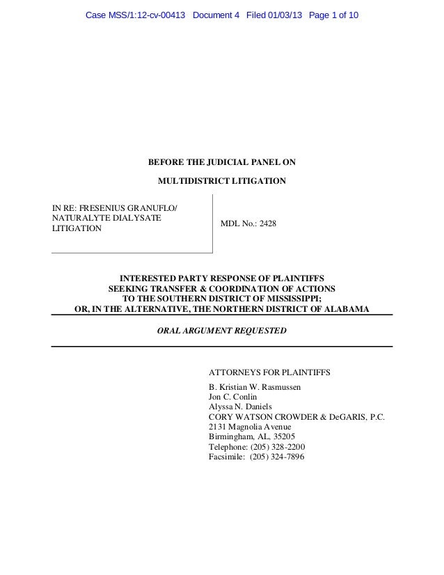 Case MSS/1:12-cv-00413 Document 4 Filed 01/03/13 Page 1 of 10                   BEFORE THE JUDICIAL PANEL ON              ...