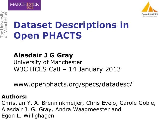 Dataset Descriptions in    Open PHACTS    Alasdair J G Gray    University of Manchester    W3C HCLS Call – 14 January 2013...
