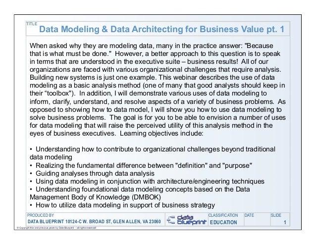 Data-Ed: Unlocking Business Value through Data Modeling and Data Architecture (Part I of II)