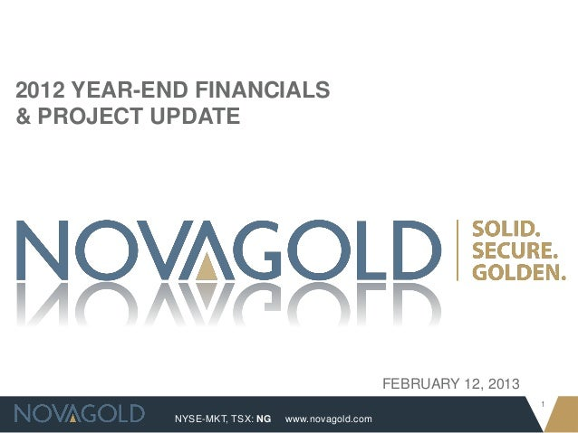 2012 YEAR-END FINANCIALS& PROJECT UPDATE                                                   FEBRUARY 12, 2013              ...