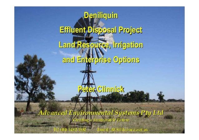 DeniliquinDeniliquin Effluent Disposal ProjectEffluent Disposal Project Land Resource, IrrigationLand Resource, Irrigation...
