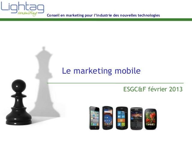 Conseil en marketing pour l'industrie des nouvelles technologies Le marketing mobile ESGC&F février 2013