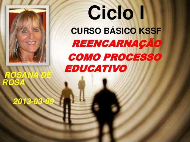 Ciclo I               CURSO BÁSICO KSSF                REENCARNAÇÃO               COMO PROCESSO               EDUCATIVOROS...