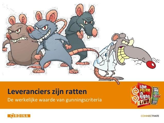 Leveranciers zijn rattenDe werkelijke waarde van gunningscriteria