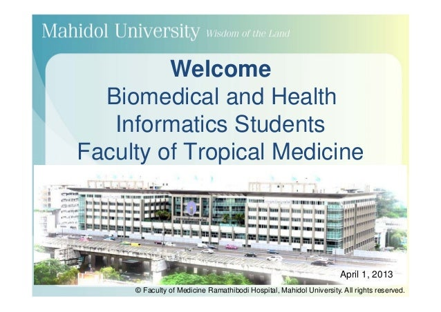 Welcome  Biomedical and Health   Informatics StudentsFaculty of Tropical Medicine                                         ...