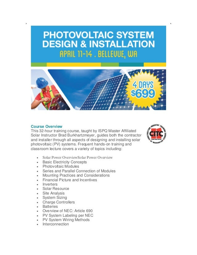 Photovoltaic System Design and Installation Course - Bellevue, Washington