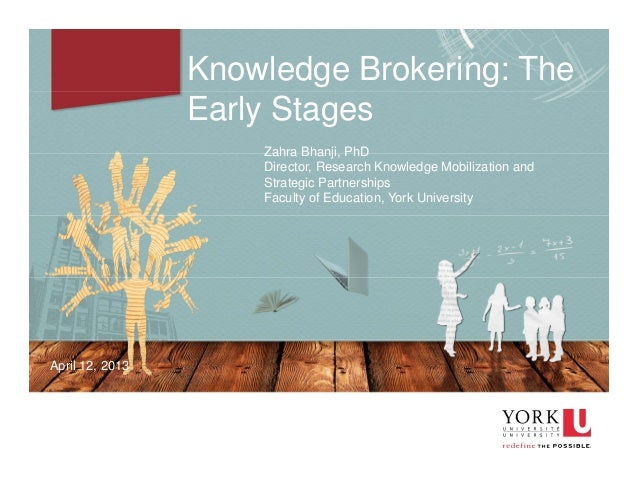 1 Knowledge Brokering: The Early Stages Zahra Bhanji, PhD Director, Research Knowledge Mobilization and Strategic Partners...