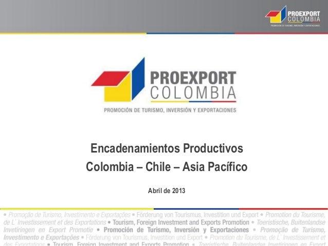 Encadenamientos ProductivosColombia – Chile – Asia PacíficoAbril de 2013