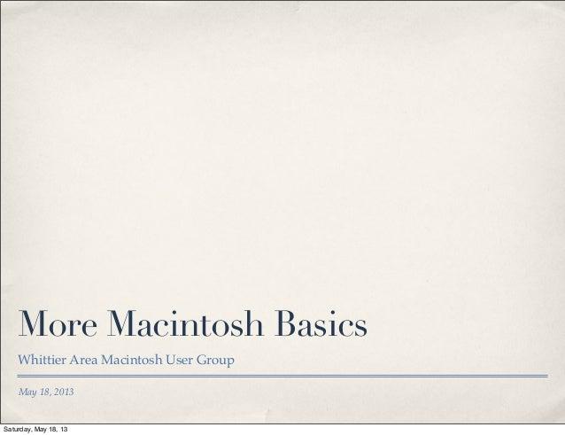 2013-05•More Mac Basics