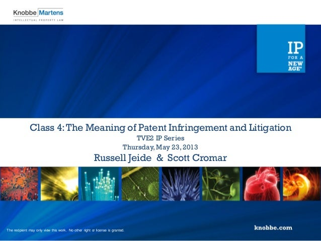 Russell Jeide & Scott CromarThursday,May 23, 2013TVE2 IP SeriesClass 4:The Meaning of Patent Infringement and LitigationTh...