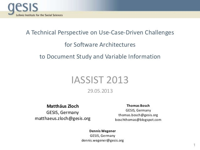 A Technical Perspective on Use-Case-Driven Challengesfor Software Architecturesto Document Study and Variable InformationI...