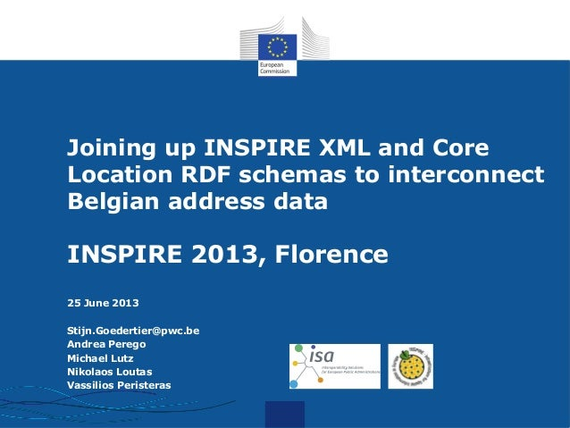 I.T.Joining up INSPIRE XML and CoreLocation RDF schemas to interconnectBelgian address dataINSPIRE 2013, Florence25 June 2...