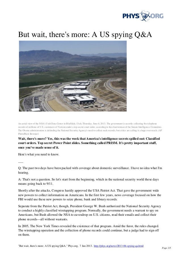 But wait, theres more: A US spying Q&AAn aerial view of the NSAs Utah Data Center in Bluffdale, Utah, Thursday, June 6, 20...