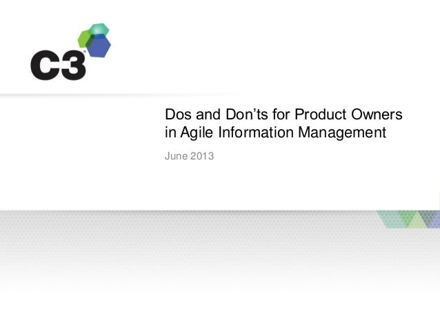 Dos and Don'ts for Product Ownersin Agile Information ManagementJune 2013