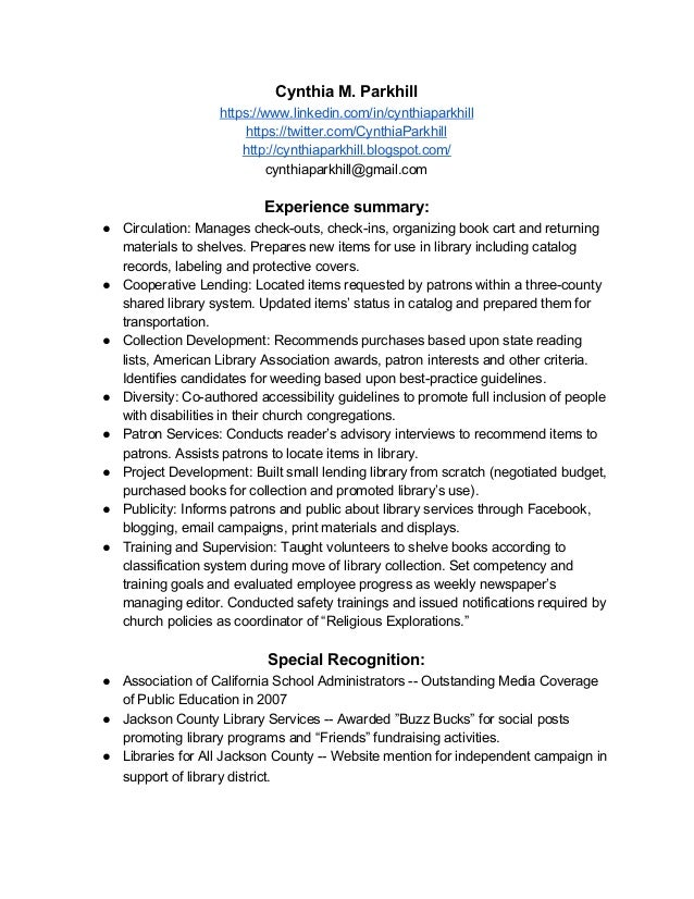 Resume for elementary school librarian