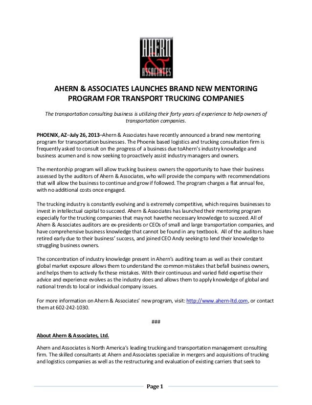 Page 1 AHERN & ASSOCIATES LAUNCHES BRAND NEW MENTORING PROGRAM FOR TRANSPORT TRUCKING COMPANIES The transportation consult...