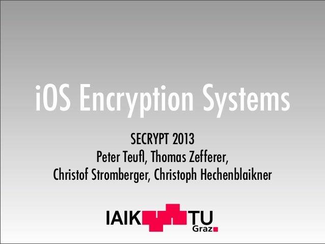 IAIK iOS Encryption Systems SECRYPT 2013 Peter Teufl, Thomas Zefferer, Christof Stromberger, Christoph Hechenblaikner