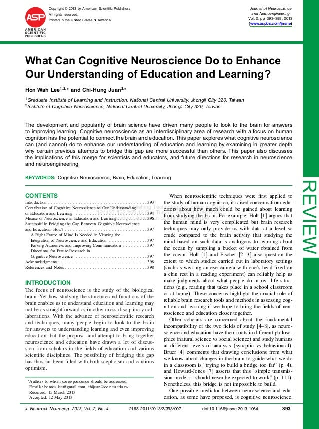 What can cognitive neuroscience do to enhance our understanding of education and learning?