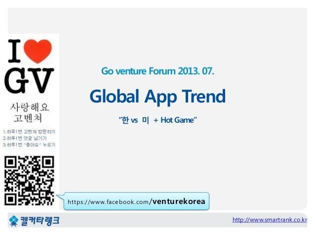 """Go venture Forum 2013. 07. Global App Trend """"한 vs 미 + Hot Game"""" http://www.smartrank.co.kr https://www.facebook.com/ventur..."""