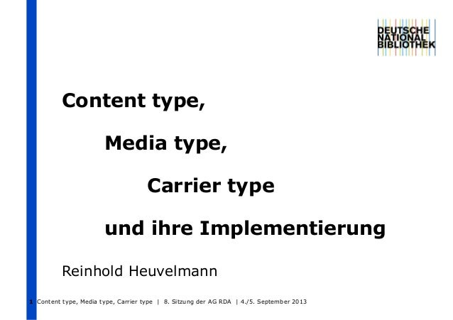 Content type, Media type, Carrier type und ihre Implementierung Reinhold Heuvelmann Content type, Media type, Carrier type...