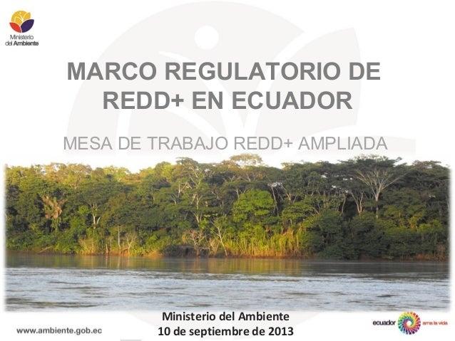 MARCO REGULATORIO DE REDD+ EN ECUADOR MESA DE TRABAJO REDD+ AMPLIADA Ministerio del Ambiente 10 de septiembre de 2013