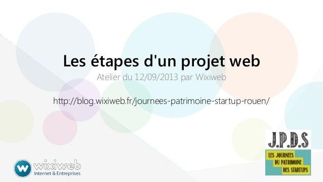 Les étapes d'un projet web Atelier du 12/09/2013 par Wixiweb  http://blog.wixiweb.fr/journees-patrimoine-startup-rouen/