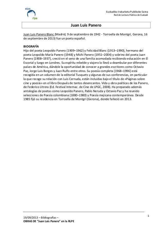 "19/09/2013 – Bibliografías – OBRAS DE ""Juan Luis Panero"" en la RLPE 1 Euskadiko Irakurketa Publikoko Sarea Red de Lectura ..."