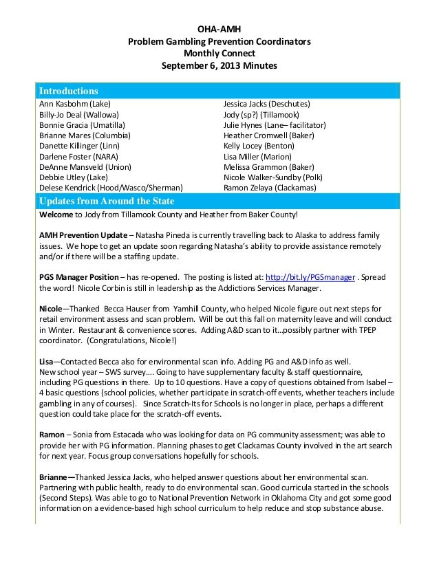 Oregon Problem Gambling Services - Monthly PG Prevention Connect - Minutes - 9/6/13