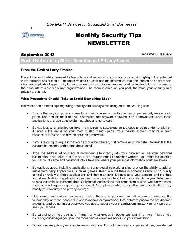 I Liberteks IT Services for Successful Small Businesses Monthly Security Tips NEWSLETTER September 2013 Volume 8, Issue 9 ...