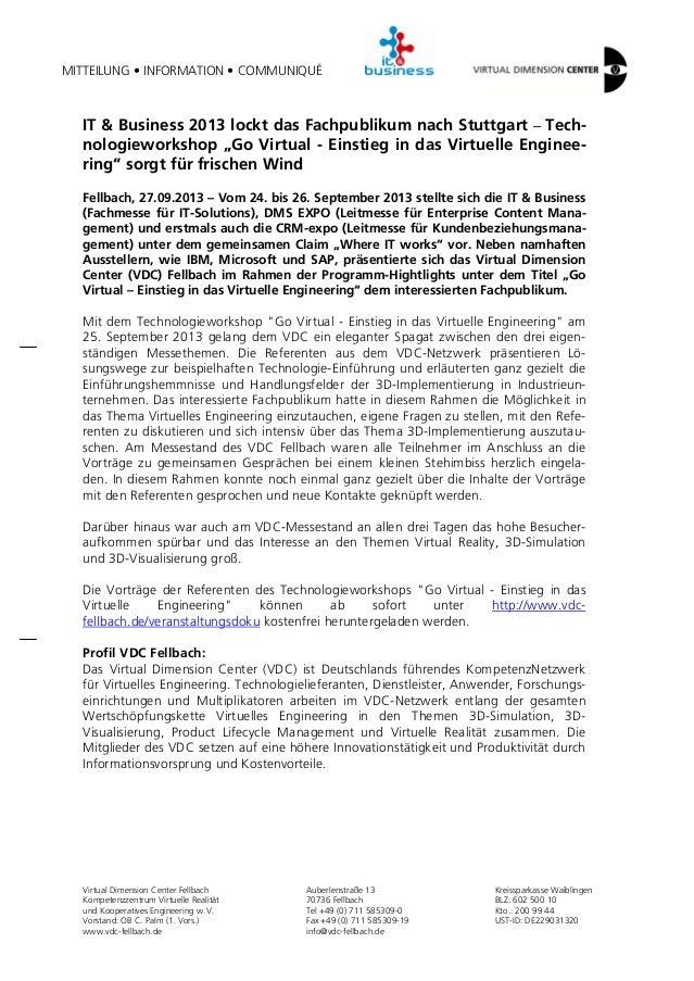 """IT & Business 2013 lockt das Fachpublikum nach Stuttgart – Technologieworkshop """"Go Virtual - Einstieg in das Virtuelle Engineering"""" sorgt für frischen Wind"""