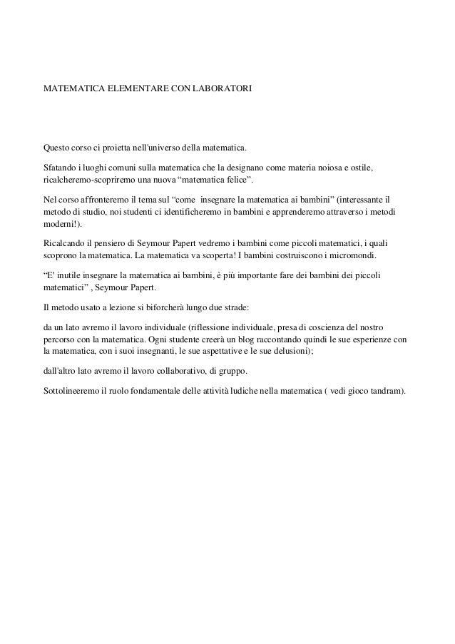 2013 10-07 Appunti della prima lezione