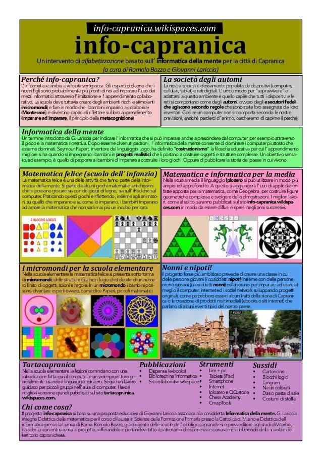 info-capranica.wikispaces.com  info-capranica  Un intervento di alfabetizzazione basato sull' informatica della mente per ...