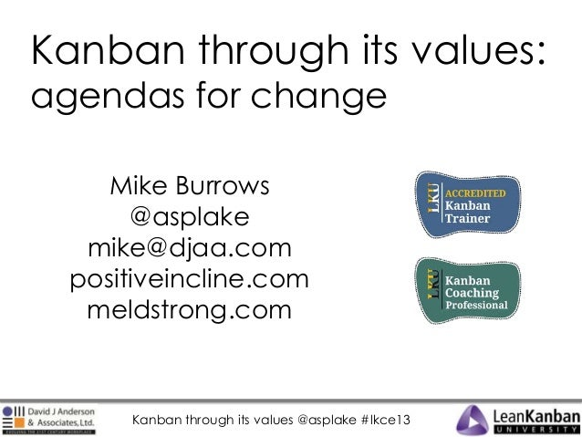 Kanban through its values: agendas for change Mike Burrows @asplake mike@djaa.com positiveincline.com meldstrong.com  Kanb...
