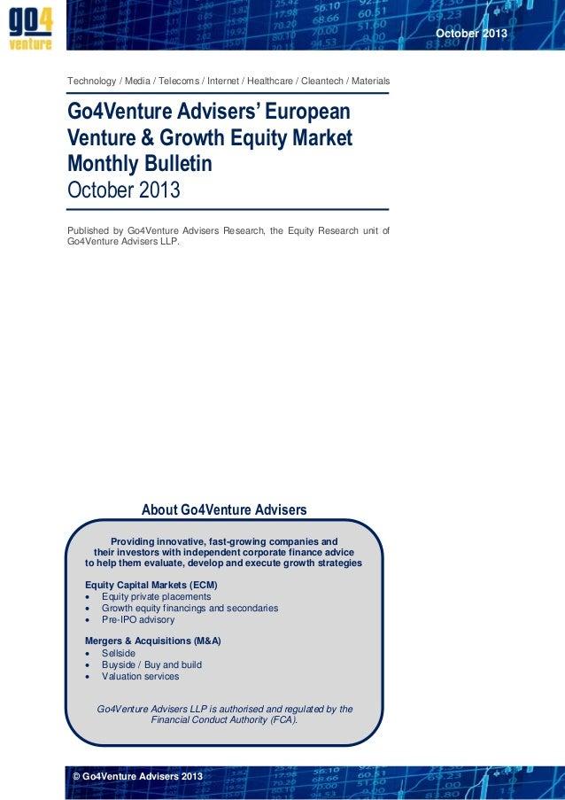 The Go4Venture Advisers' European Venture & Growth Equity Market Monthly Bulletin