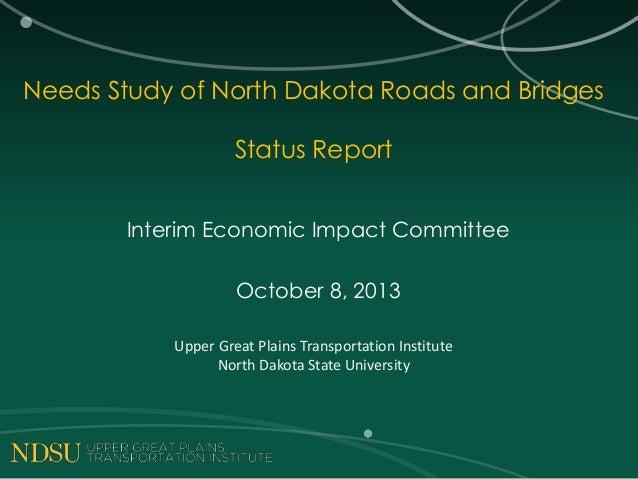 Needs Study of North Dakota Roads and Bridges Status Report