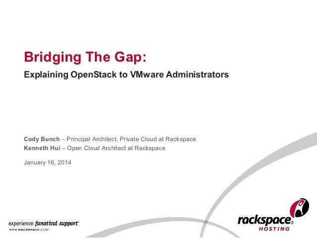 Bridging The Gap: Explaining OpenStack To VMware Administrators