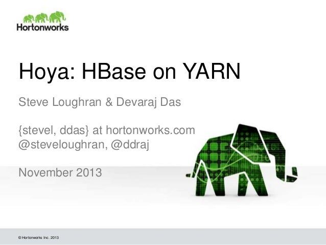 Hoya: HBase on YARN Steve Loughran & Devaraj Das {stevel, ddas} at hortonworks.com @steveloughran, @ddraj November 2013  ©...