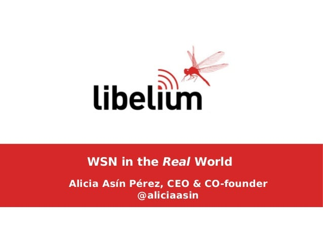 WSN in the Real World Alicia Asín Pérez, CEO & CO-founder @aliciaasin