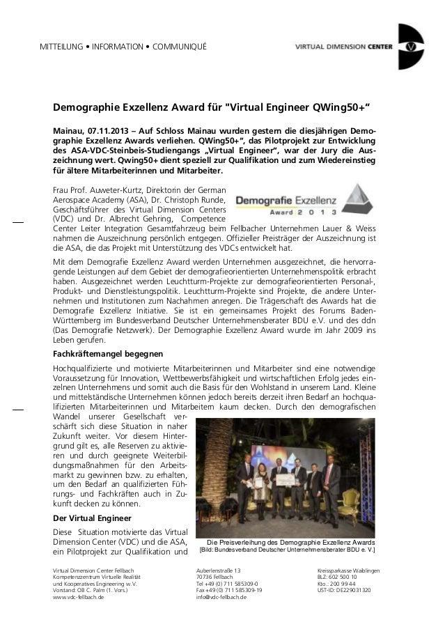 """MITTEILUNG • INFORMATION • COMMUNIQUÉ  Demographie Exzellenz Award für """"Virtual Engineer QWing50+"""" Mainau, 07.11.2013 – Au..."""