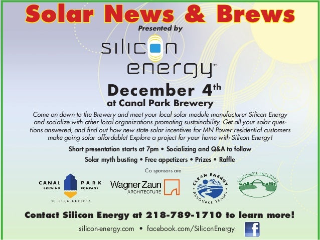 Solar News & Brews Presented by  December 4th  at Canal Park Brewery  Come on down to the Brewery and meet your local sola...