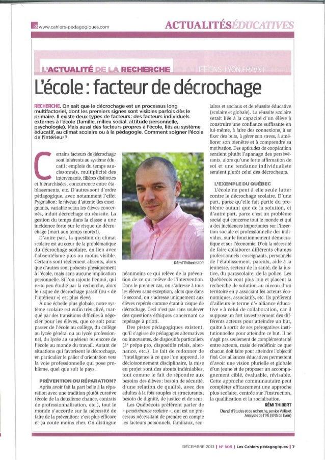 Ecole facteur de décrochage - Cahiers pédagogiques n°509