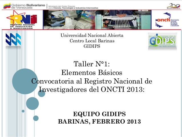 Universidad Nacional Abierta           Centro Local Barinas                  GIDIPS            Taller N°1:         Element...