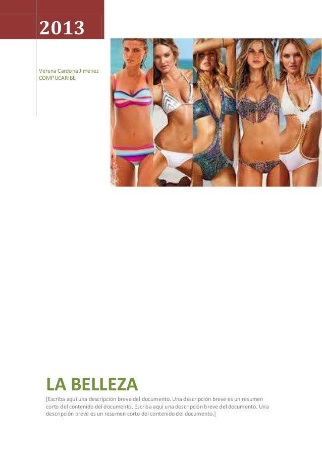 2013Verena Cardona JiménezCOMPUCARIBE  LA BELLEZA  [Escriba aquí una descripción breve del documento. Una descripción brev...