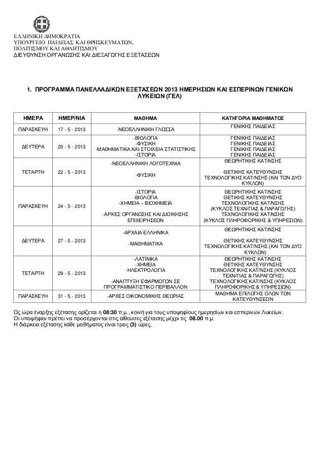 Πρόγραμμα των πανελλαδικών εξετάσεων 2013