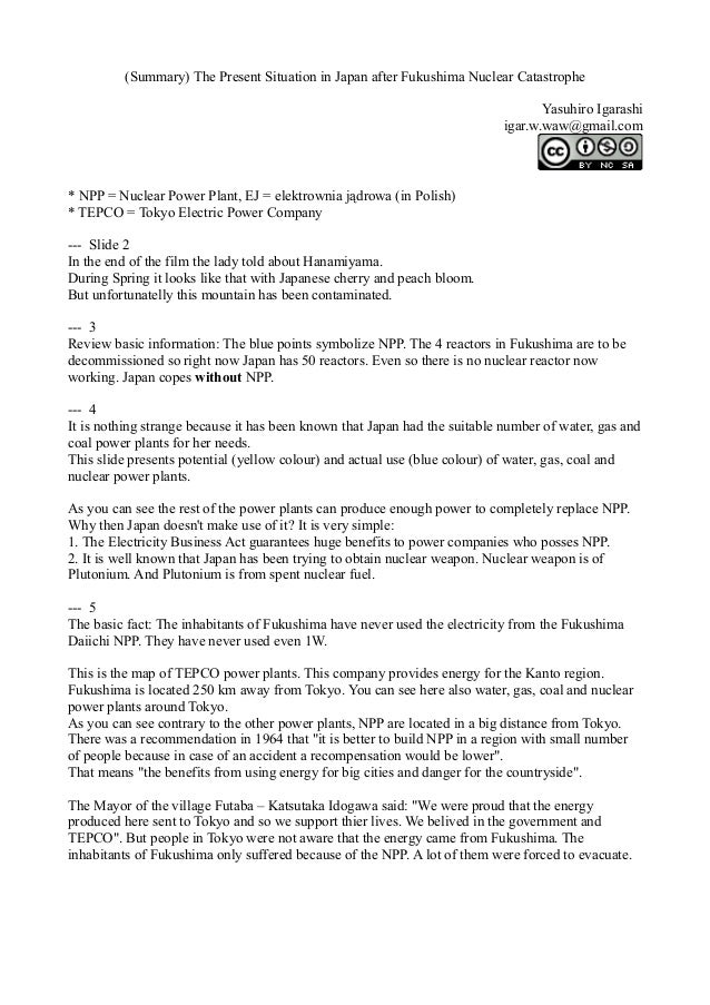 (Summary) The Present Situation in Japan after Fukushima Nuclear Catastrophe Yasuhiro Igarashi igar.w.waw@gmail.com  * NPP...