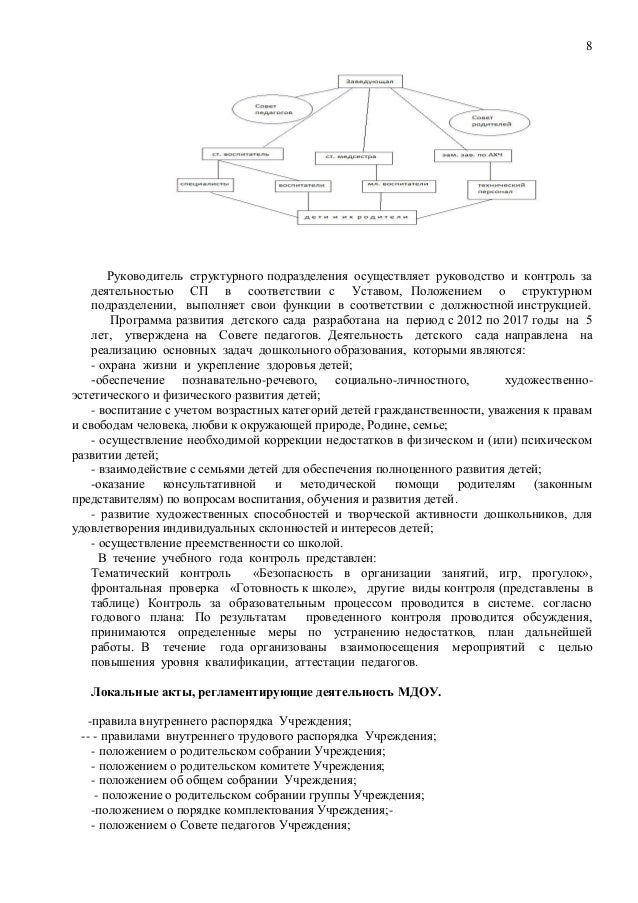 Должностная инструкция руководителя структурного подразделения детского сада