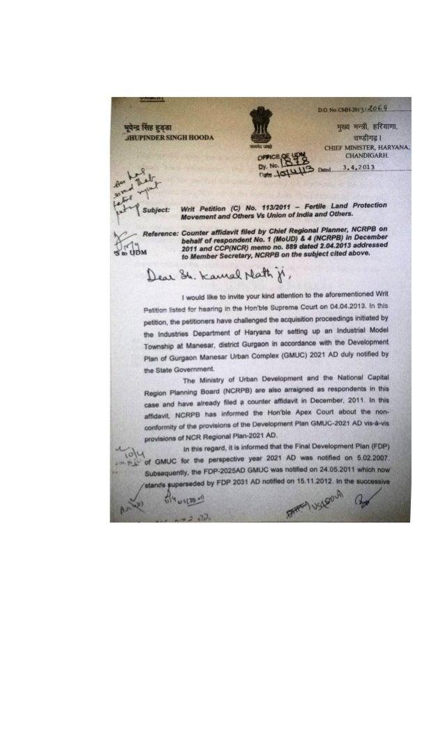 2013.04.03 sh bhupinder singh hooda do letter to sh kamal nath requesting reversal of affidavit filed in sc by ncrpb