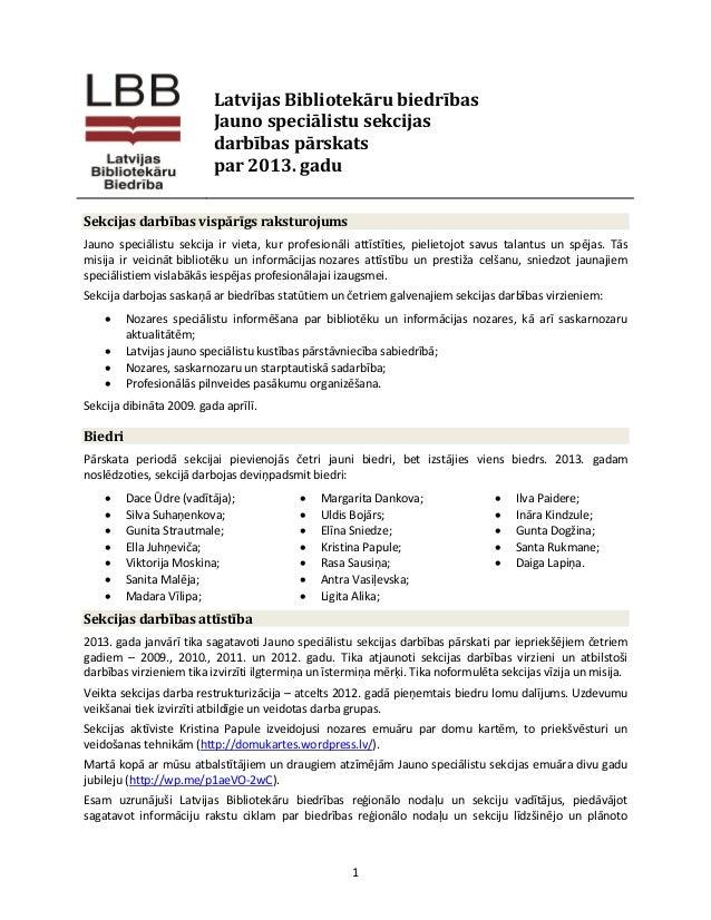 LBB JSS darbības pārskats par 2013. gadu