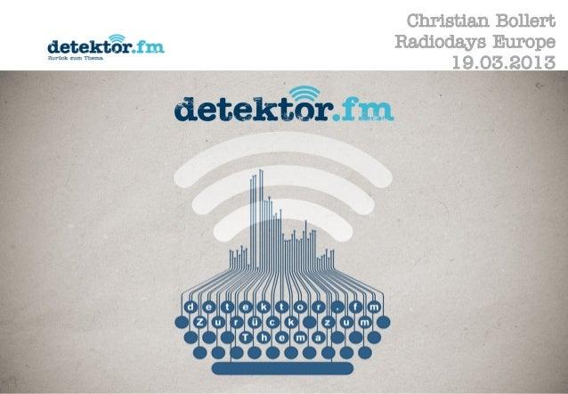 Christian BollertRadiodays Europe      19.03.2013